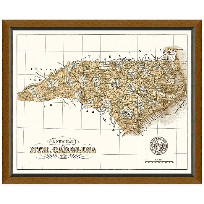 Framed North Carolina Map Wall Décor | Bed Bath & Beyond