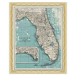 Framed Map of Florida Wall Décor