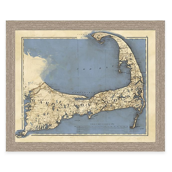 Framed Map of Cape Cod Landscape Wall Art | Bed Bath & Beyond