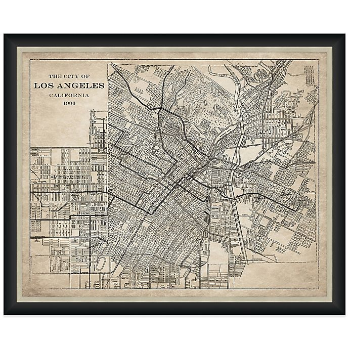 Home Decor Stores Los Angeles: Framed Landscape Map Of Los Angeles, CA Wall Décor