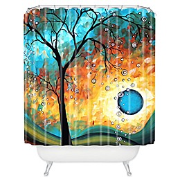 Deny Designs Madart Inc. Aqua Burn Shower Curtain in Blue