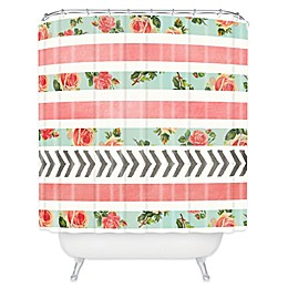 Deny Designs Floral Stripes and Arrows Shower Curtain in Pink