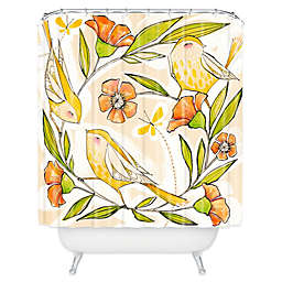 Deny Designs Cori Dantini Happy Family Single Shower Curtain in Yellow