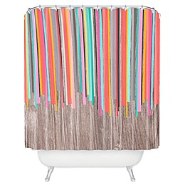 Deny Designs Iveta Abolina Stripe Happy Shower Curtain in Peach