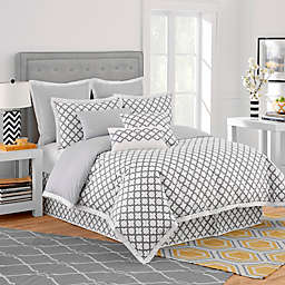 Jill Rosenwald Quatrefoil Reversible Duvet Cover in White/Grey