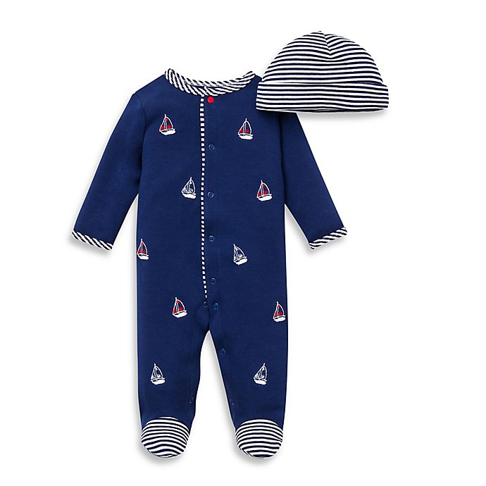 Alternate image 1 for Little Me® 2-Piece Sailboats Footie and Hat Set