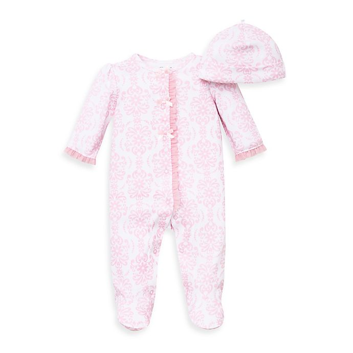 Alternate image 1 for Little Me® 2-Piece Damask Scroll Footie and Hat Set in Pink