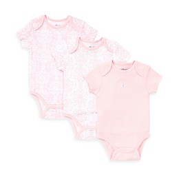 Little Me® 3-Pack Damask Scroll Bodysuit in Pink