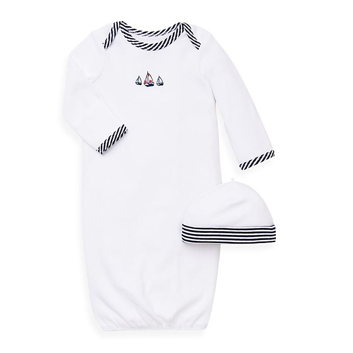 Alternate image 1 for Little Me® 2-Piece Sailboats Long Sleeve Gown and Hat Set