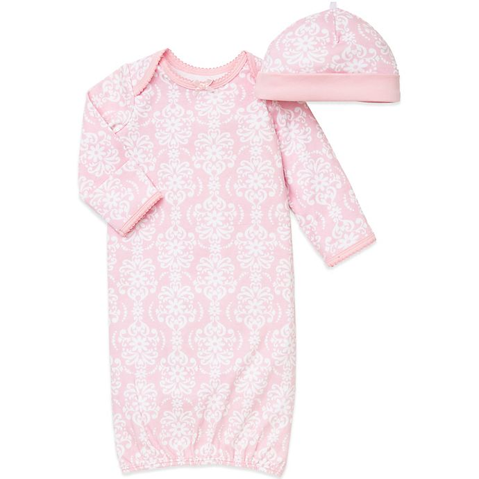 Alternate image 1 for Little Me® 2-Piece Damask Scroll Newborn Gown and Hat Set in Pink