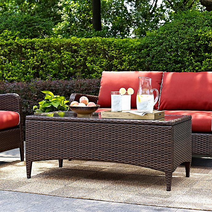 Alternate image 1 for Crosley Kiawah Outdoor Wicker Glass Top Coffee Table