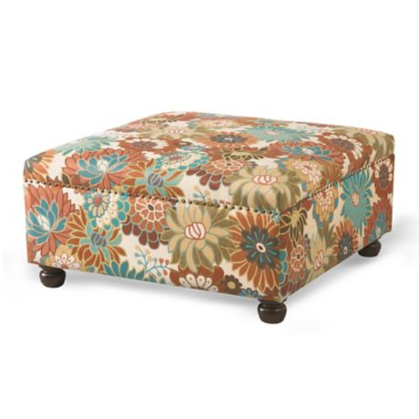 Madison Park Carlyle Cocktail Ottoman In Floral Multi