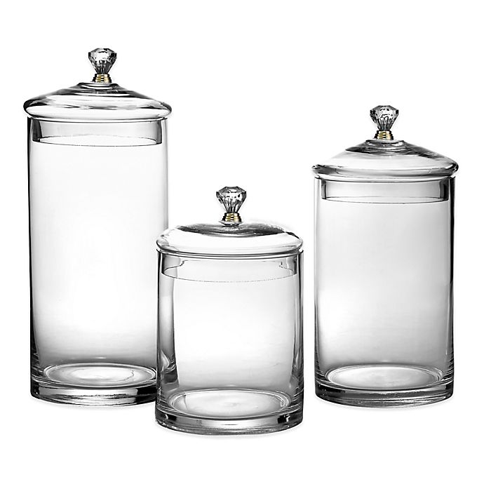Glass Canisters With Golden Knobs Set Of 3 Bed Bath Beyond