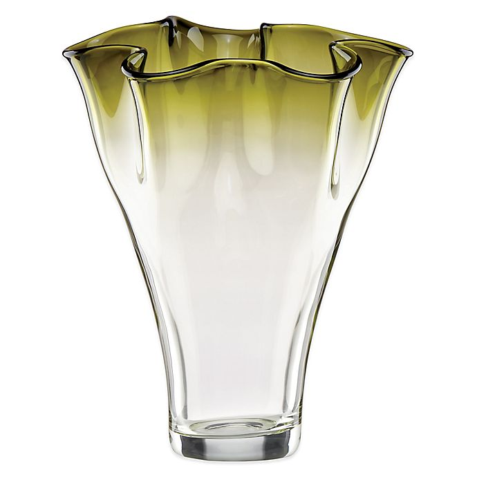 Alternate image 1 for Lenox® Organics 12-Inch Ruffle Ombre Centerpiece Crystal Vase in Green