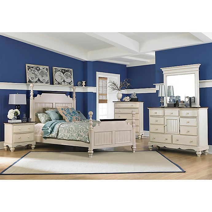Hillsdale Pine Island 4-Piece Post Bedroom Set in Old White ...