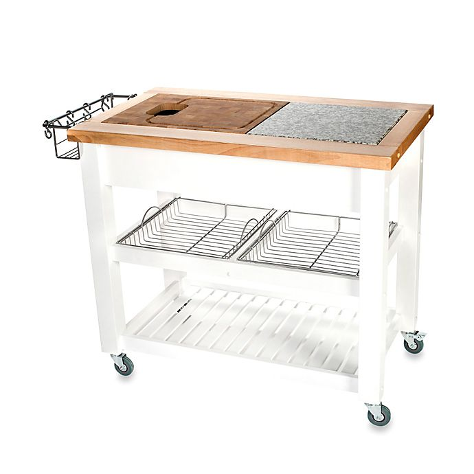 Alternate image 1 for Chris & Chris Pro Chef Kitchen Island Work Station in White