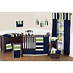 Sweet Jojo Designs Navy and Lime Stripe 11-Piece Crib Bedding Set