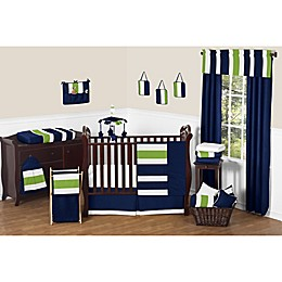 Sweet Jojo Designs Navy and Lime Stripe Crib Bedding Collection