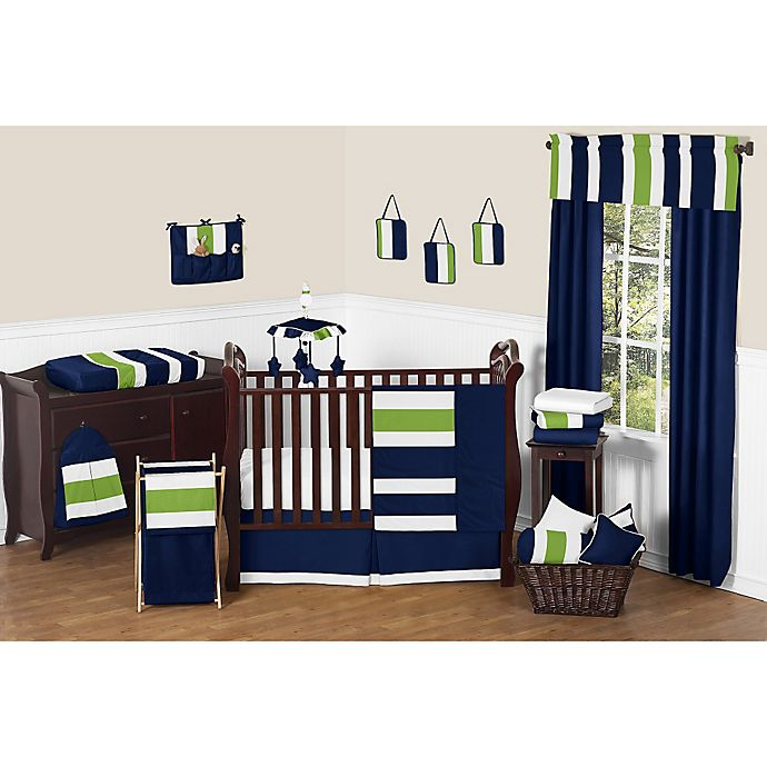 Alternate image 1 for Sweet Jojo Designs Navy and Lime Stripe Crib Bedding Collection