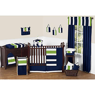 Sweet Jojo Designs Navy and Lime Stripe 11-Piece Crib Bedding Set