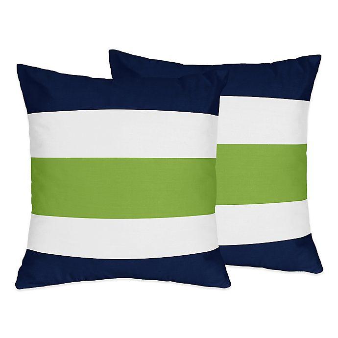 Alternate image 1 for Sweet Jojo Designs Navy and Lime Stripe Throw Pillows (Set of 2)