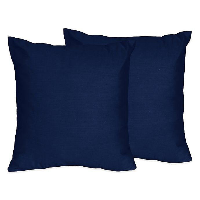 Alternate image 1 for Sweet Jojo Designs Throw Pillows in Solid Navy (Set of 2)