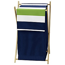 Sweet Jojo Designs Navy and Lime Stripe Hamper