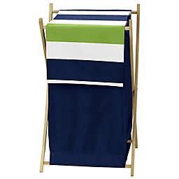 Sweet Jojo Designs Navy and Lime Stripe Hamper