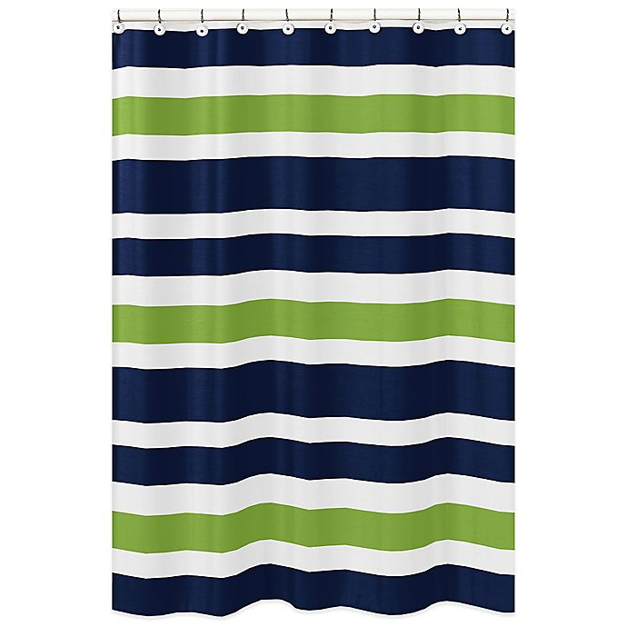 Sweet Jojo Designs Navy And Lime Stripe Shower Curtain