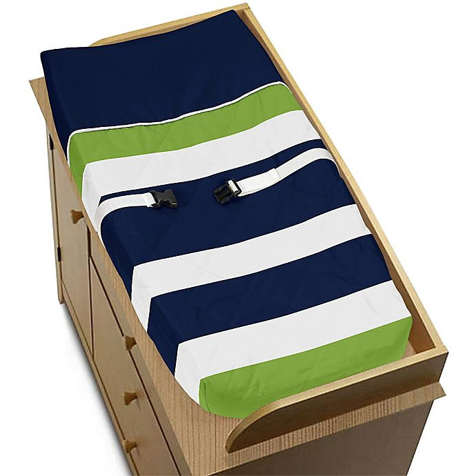 Alternate image 1 for Sweet Jojo Designs Navy and Lime Stripe Changing Pad Cover
