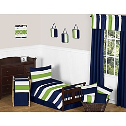 Sweet Jojo Designs Navy and Lime Stripe Toddler Bedding Collection