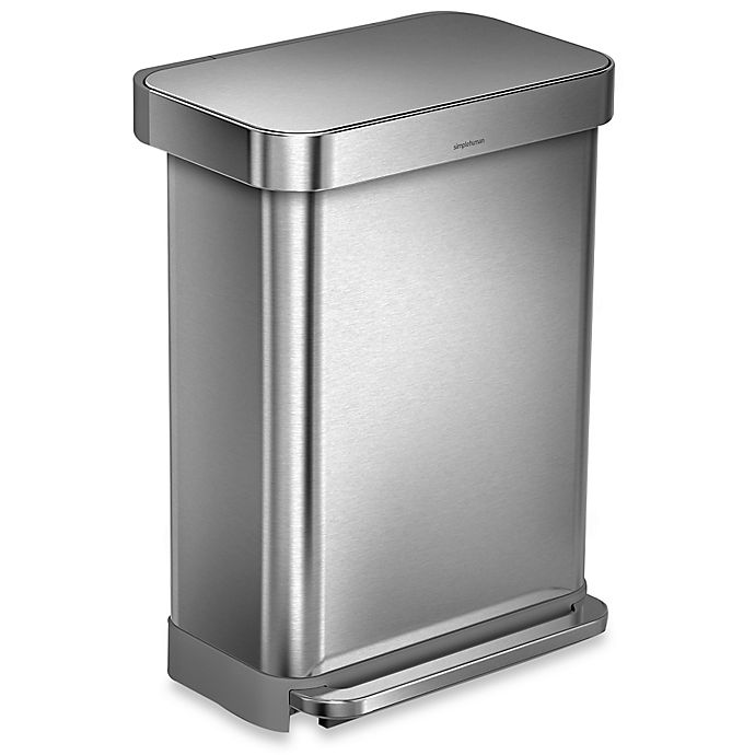 Alternate image 1 for simplehuman® 55-Liter RectangularStep Trash Can with Liner Pocket in Brushed Stainless Steel