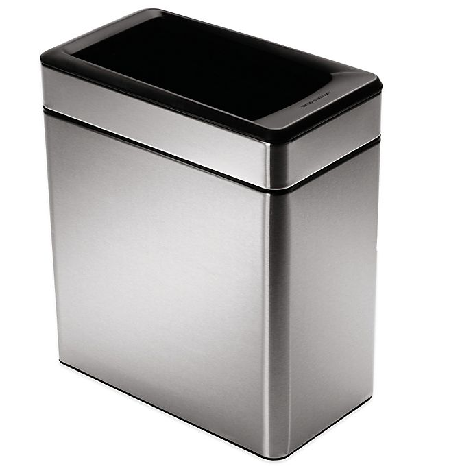 Alternate image 1 for simplehuman® 10-Liter Profile Open Stainless Steel Trash Can