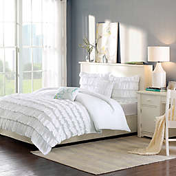 Intelligent Design Waterfall Reversible 4-Piece Twin/Twin XL Comforter Set in White