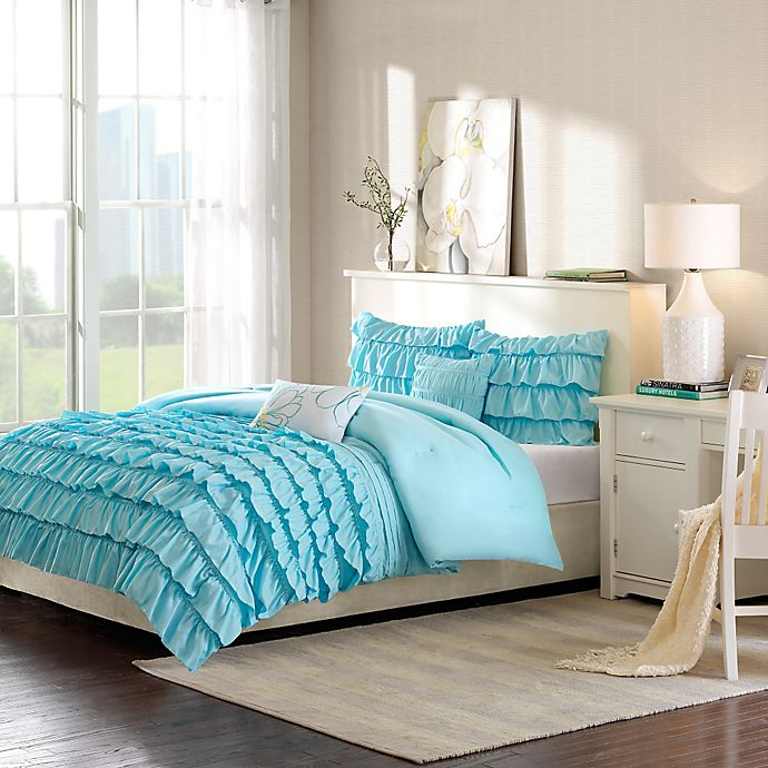 Alternate image 1 for Intelligent Design Waterfall Reversible Comforter Set in Blue