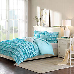 Intelligent Design Waterfall 4-Piece Reversible Twin/Twin XL Comforter Set in Blue