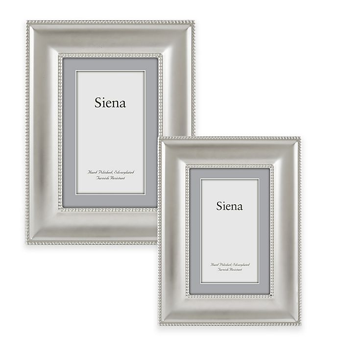 Alternate image 1 for Siena Silver-Plated Double Beaded Wide Border Picture Frame