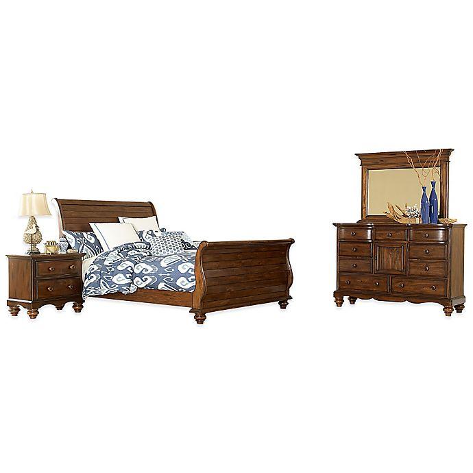 Hillsdale Pine Island Sleigh Bedroom Set in Dark Pine   Bed ...