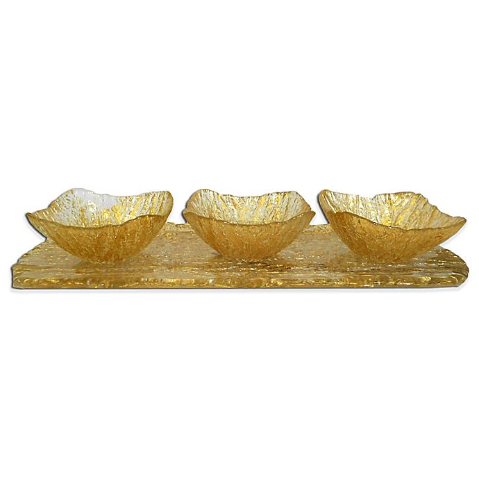 Alternate image 1 for Classic Touch Relish Dish with Tray Set in Gold
