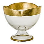 Classic Touch Footed Flower Shaped Candy Dish in Gold