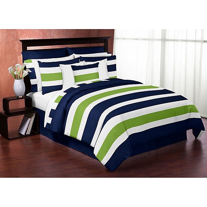 Alternate image 1 for Sweet Jojo Designs Navy and Lime Stripe Bedding Collection