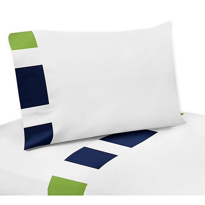 Alternate image 1 for Sweet Jojo Designs Navy and Lime Stripe Queen Sheet Set