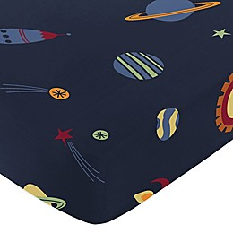 Sweet Jojo Designs Space Galaxy Fitted Crib Sheet in in Space Print