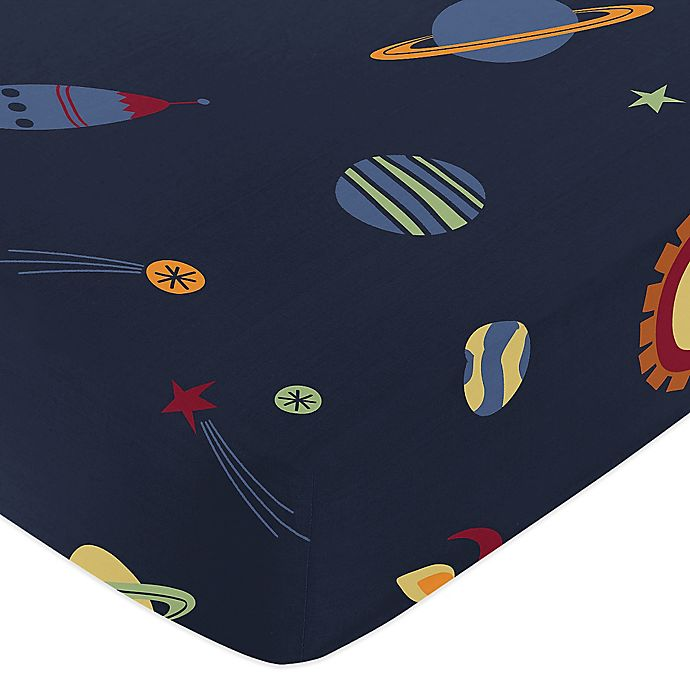 Alternate image 1 for Sweet Jojo Designs Space Galaxy Fitted Crib Sheet in in Space Print