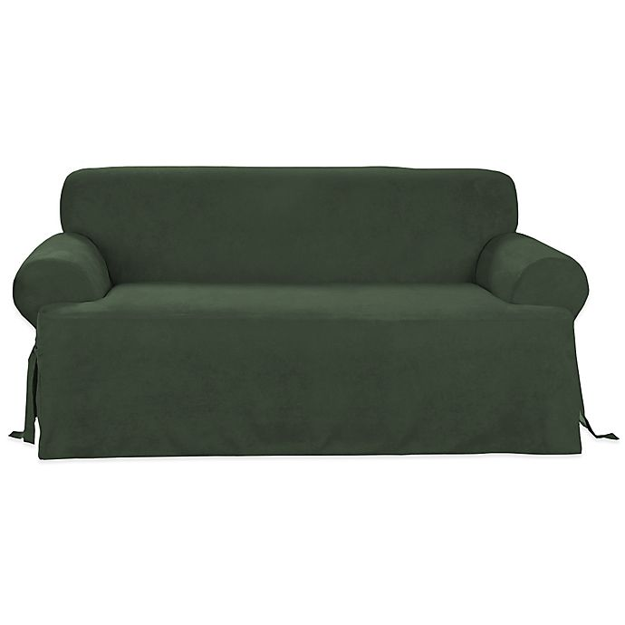 Sure Fit Canvas Cvc Sofa Slipcover In Hunter Green Bed Bath Beyond