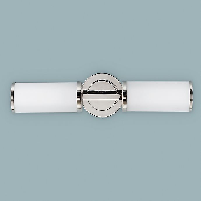 Alternate image 1 for Feiss® Industrial 2-Light Wall-Mount Sconce in Polished Nickel with Opal Etched Glass Shades
