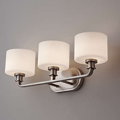 Feiss® Kincaid 3-Light Wall-Mount Vanity Strip in Brushed Steel with Opal Etched Glass Shades