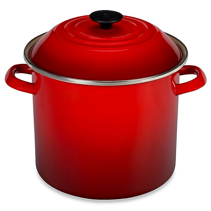 buy le creuset 10 qt stock pot in cherry from bed bath beyond. Black Bedroom Furniture Sets. Home Design Ideas