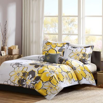 Mizone Allison Reversible Comforter Set In Yellow Grey Bed Bath Beyond