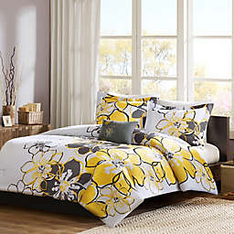 Mizone Allison Reversible Full/Queen Comforter Set in Yellow/Grey
